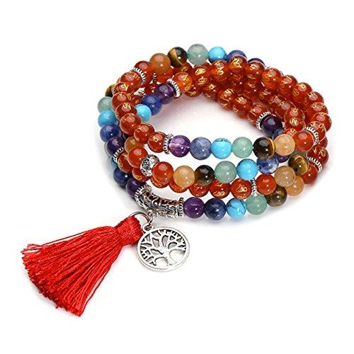 CrystalTears 108 Perlen Edelstein Yoga Om Mani Padme Hum Buddha Armband Chakra Wickelarmband Tibetische Gebetskette Mala Kette Halskette mit Lebensbaum Quaste Anhänger (Karneol)