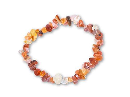 Taddart Minerals – Orange weißes Splitter Armband aus dem natürlichen Edelstein Karneol auf elastischem Nylonfaden aufgezogen - handgefertigt